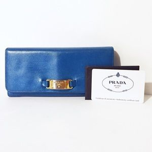 Prada blue metallic leather long snap wallet